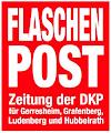 Logo: »Flaschenpost, Zeitung der DKP für Gerresheim, Grafenberg, Ludenberg und Hubbelrath«.