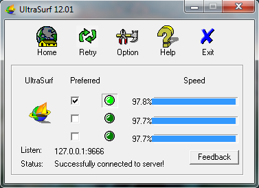 Screenshot of UltraSurf v.12.01 VPN Proxy PC Software Free Download at alldownloads4u.com