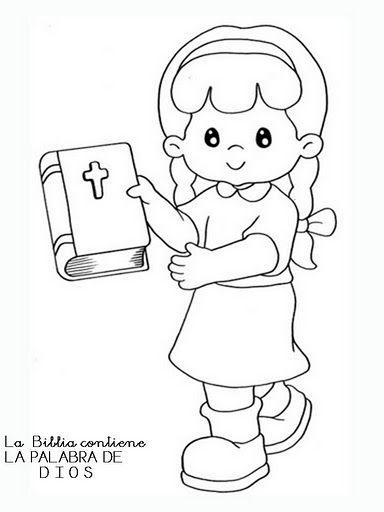 Imágenes de niña con Biblia para colorear
