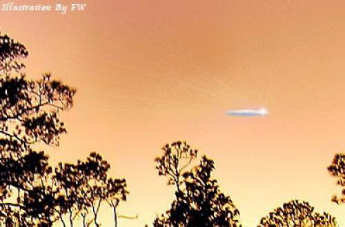 Cigar Shaped Ufo Disappeared In White Cloud