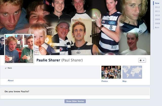Paulie Sharer's Timeline page on Facebook