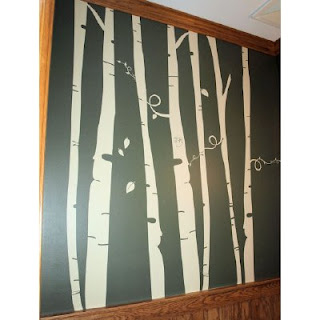 Diy nursery wall mural blogher for Diy birch tree mural