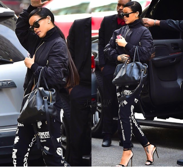 Rihanna in Dimepiece and 3.1 Phillip Lim