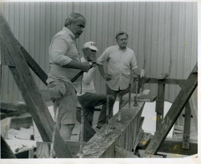 Phil Somerby, Bob Duff and David Smith preparing the keel for the new hull