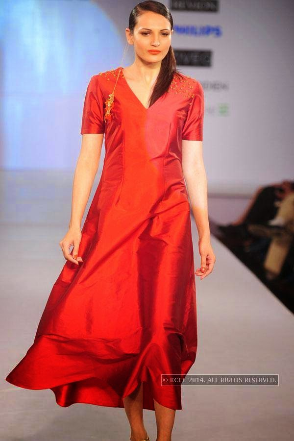 A model displays a creation during Jabong Online Fashion Week, held at Hotel Le Meridian, in Delhi, on July 30, 2014.