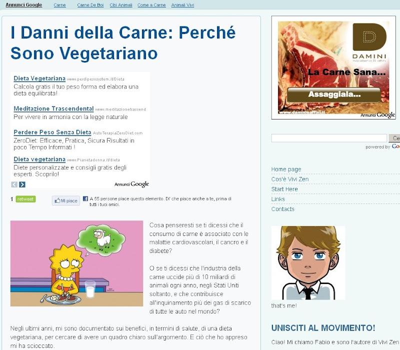 Blog vegetariano, AdSense carnivoro!