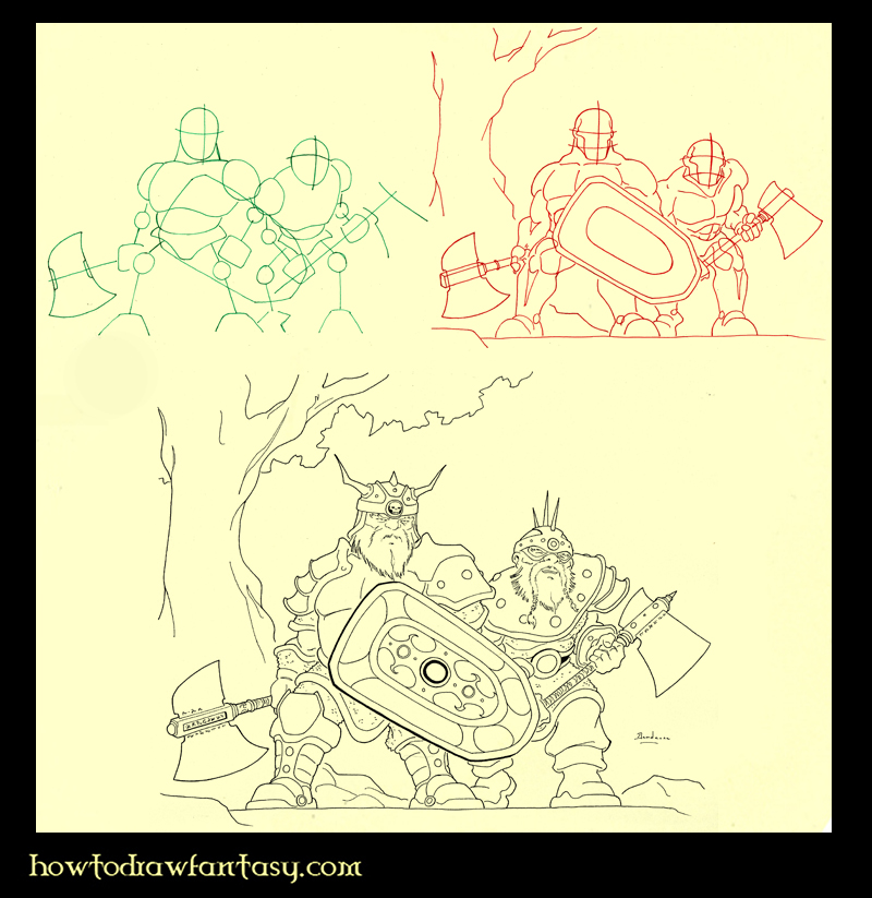 How to draw 2 warrior dwarves