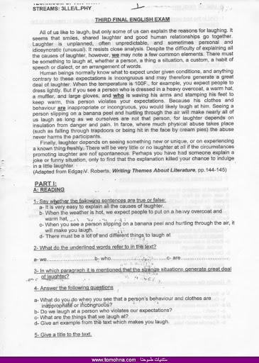 بعض الاختبارات الخاصة بالفصل الثالث في اللغة الانجليزية للسنة الثالثة ثانوي tomohna.com%2520.025