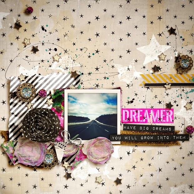 Dreamer // Scrapbook Layout // 12x12 // Dream Bigger by Jenn Barrette
