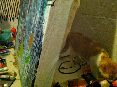 hippie, art, painting, paint, trippy, psychedelic, cat