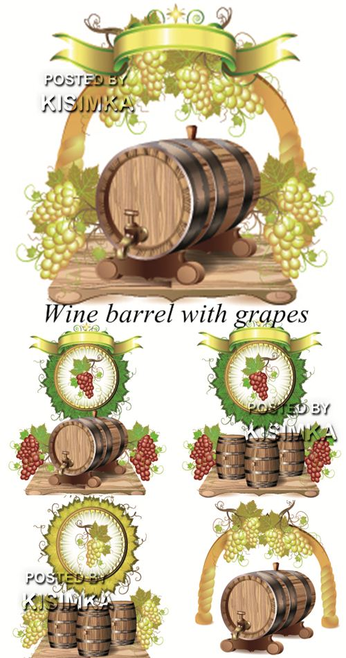 Stock: Wine barrel with grapes