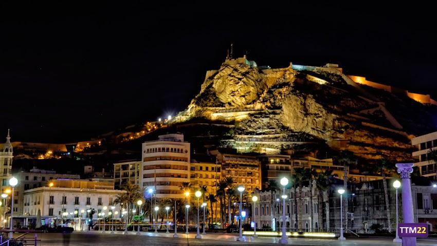 Nikon D5100, 18-55 mm, Paisajes, Nocturnas, Alicante, Castillos, Castillo de Santa Bárbara, Muelle de Levante