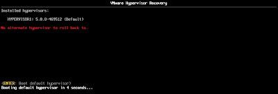 Degradar versión VMware ESXi 5.1 a 5.0, mediante roll back del hypervisor