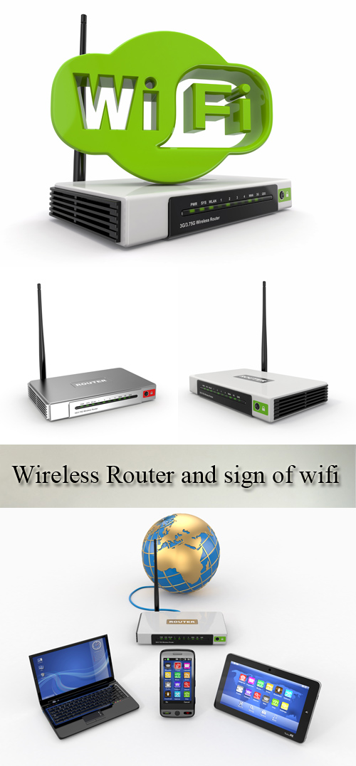 Stock Photo: Wireless Router and sign of wifi