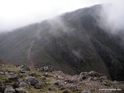 Great Gable, with cloud lifting, seen from Green Gable