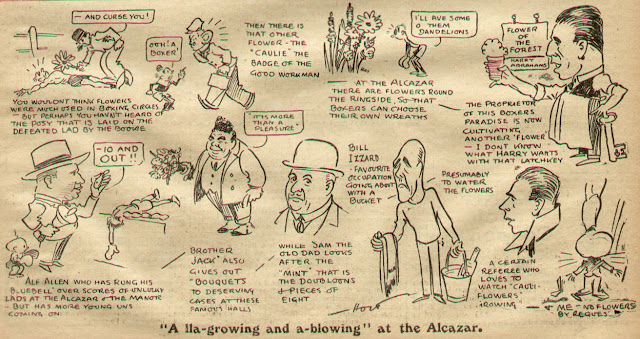 A 1920s boxing cartoon featuring the Alcazar, Edmonton