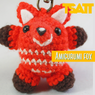 A small Amigurumi Fox keychain