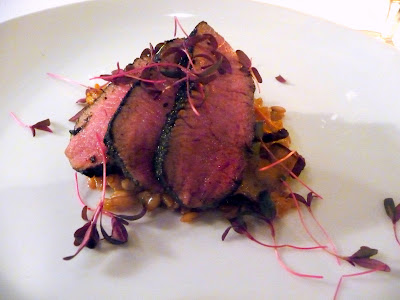 Mistral Kitchen, Seattle, chef's dinner, Anderson Ranch lamb atop farro and with scattering of Amaranth