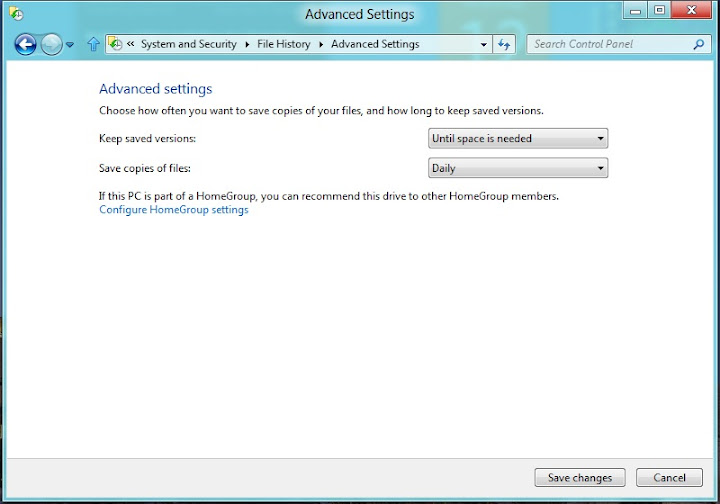 Windows 8 File History Advanced Settings
