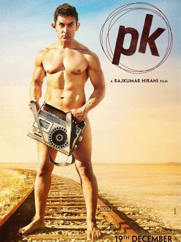 First look of Aamir Khan's much awaited film PK. The superstar goes all buff for a promotional poster of the film Rajkumar Hirani directed PK.