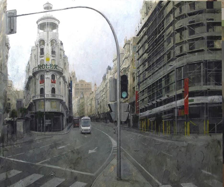 La Gran Vía de Madrid pintura de Manuel Castillero Ramirez
