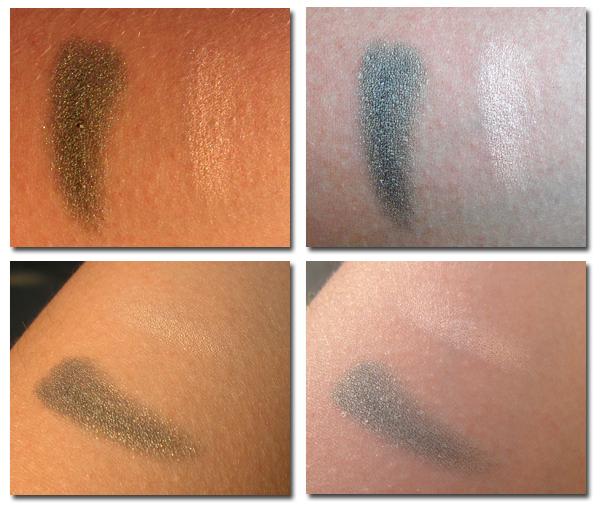 Clarins Mono Couleur Eyeshadow Silver Green 23 и Frost Pink 16 свотчи на руке влажным способом