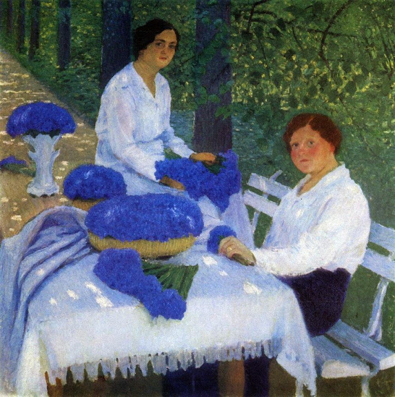 Igor Grabar - Grabar's wife, her sister and cornflowers, 1914