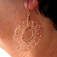 Crochet Wire Earrings - silver & cooper
