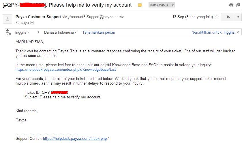 Email Verifikasi Akun Payza Tanpa Menggunakan Kartu Kredit dan VCC