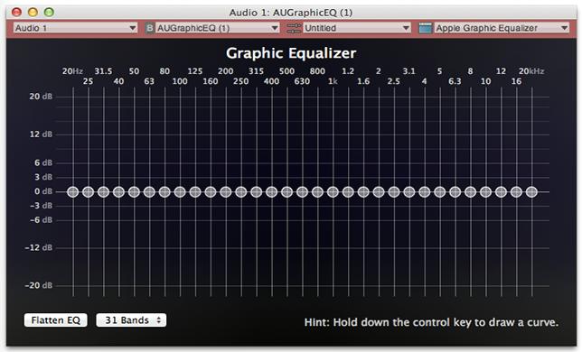 Interfaz de ecualizador gráfico por software