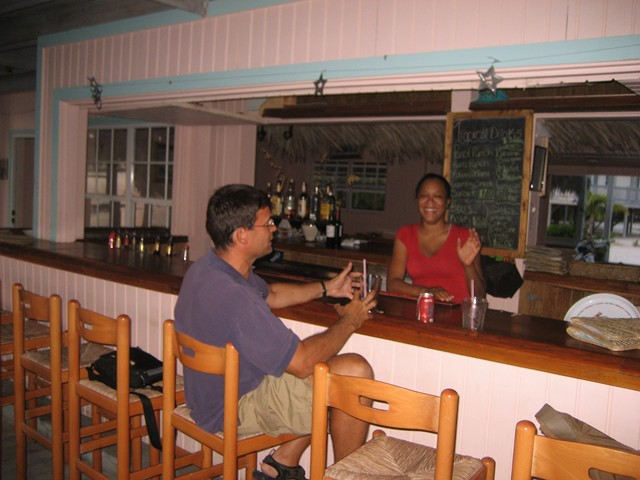 Derek and La'Tisha at the bar at Pascal's
