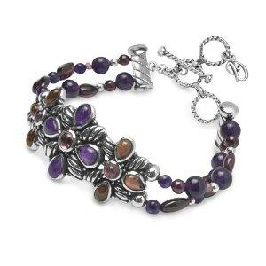 Carolyn Pollack Sterling Silver Flower Berry Gemstone Bracelet