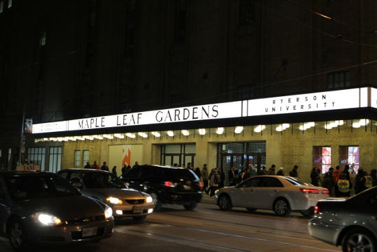 Maple Leaf Gardens restored awning and the lineup for the new Loblaws.