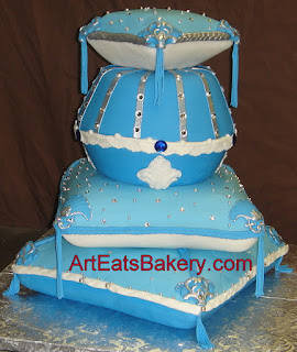 Custom designed blue fondant, silver pearls and rhinestone pillow birthday cake