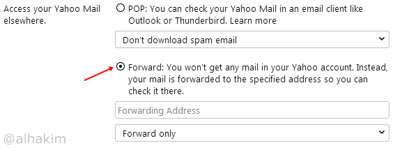 setting email forwarding di yahoo