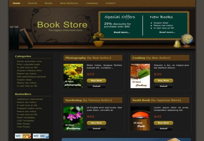 Free Book Store HTML CSS Website Template