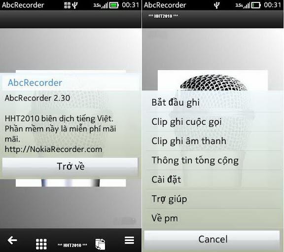 ABCRecorder V2.30 Việt hóa - Phần mềm ghi âm hoàn hảo cho Symbian