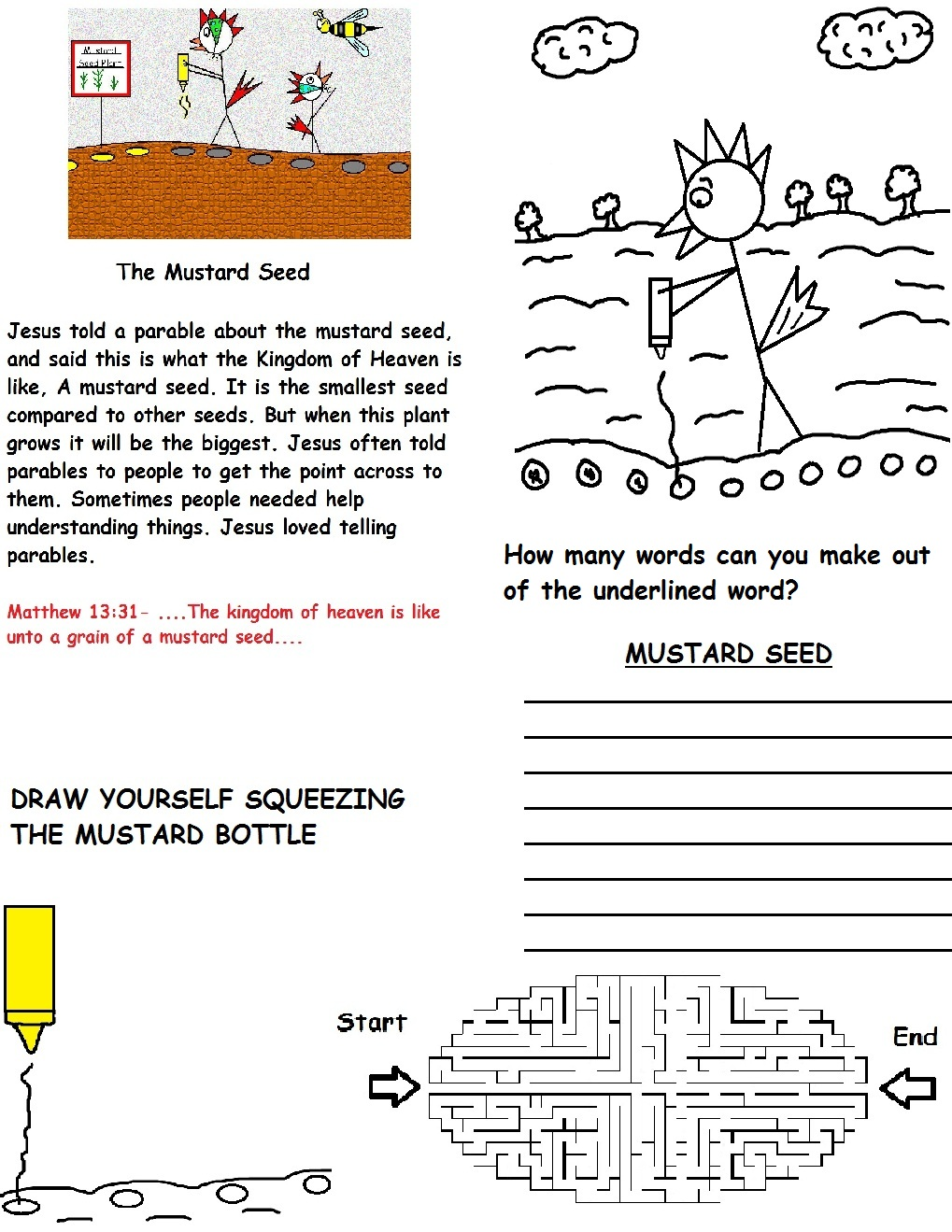 AWESOME – parable of mustard seed activity sheet wild card