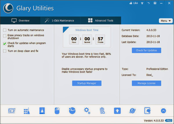 Glary Utilities Pro 4.10.0.100 + Portable [Multi] - Kit completo para mantenimiento del PC