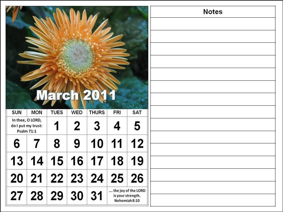 march calendar 2011. Christian March 2011 Calendar