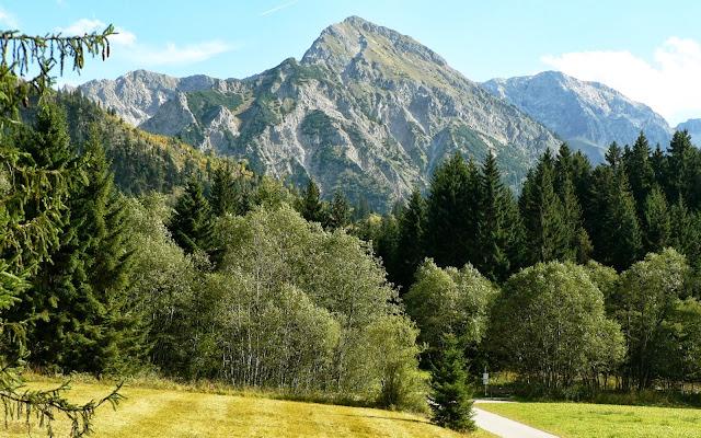 Richtung Neue Strausbergalpe. rechts das Stausberg Hochmoor Blick Rotspitze Großer Daumen Imberg Sonthofen Allgäu