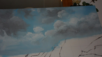 Work in Progress, Sky line. Source shows close up of Clouds number 3 with more detail added