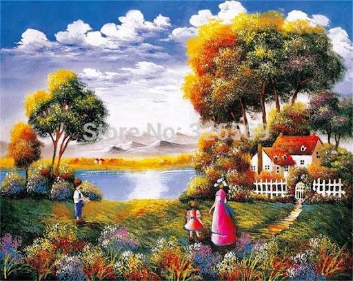 Mom & Kids reproduction realist scenery artwork printed
