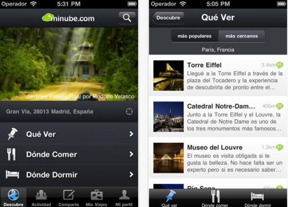 Minube, una guía de viajes en tu celular