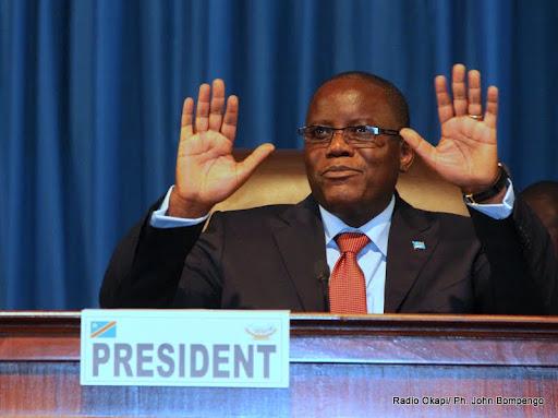 Aubin Minaku, élu nouveau  président  de l'Assemblée nationale congolaise le 12/04/2012 à Kinshasa. Radio Okapi/ Ph. John Bompengo