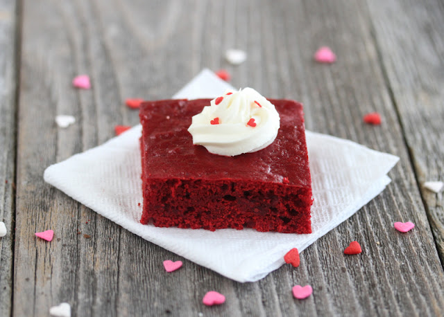 close-up of healthier red velvet cake with frosting