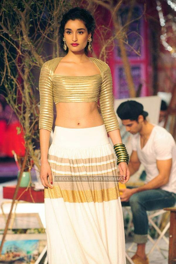 Kanishtha walks the ramp for Monisha Jaisingh on Day 3 of India Couture Week, 2014, held at Taj Palace hotel, New Delhi.