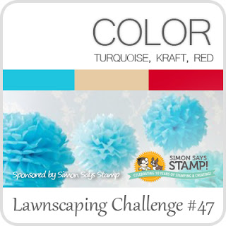 Lawnscaping Challenge #47: Turquoise, Kraft, Red
