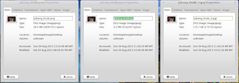 Perbandingan ukuran file, dari kiri ke kanan, File Asli, File setelah di export ke JPG, file setelah di scale lebih kecil