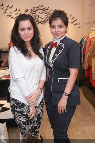 TV Actor Shraddha Arya and Kanika Jain during the latter's new collection launch at 114 Shahpur Jat, Delhi.